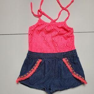 Limited to coral & fringe Jean short romper size 4